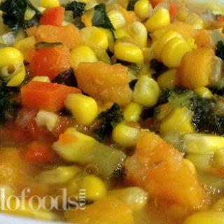 Sweet potatoes, corn and kale soup